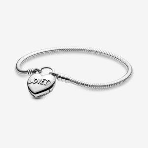 Pandora  Heart Padlock Clasp Snake Chain Bracelet